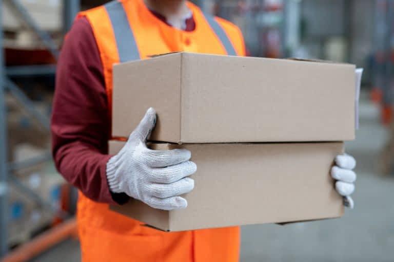 Sorting boxes at warehouse